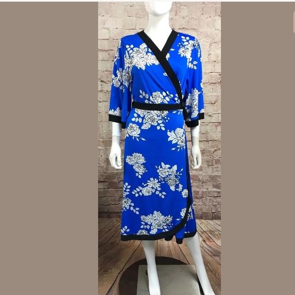 Kiyonna Kimono Wrap Dress Plus Size 2 2X Blue NWT